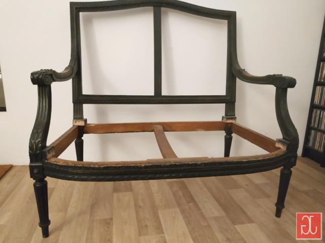 Salon Louis XVI banquette 2 places - Aurélie Legrand tapissière