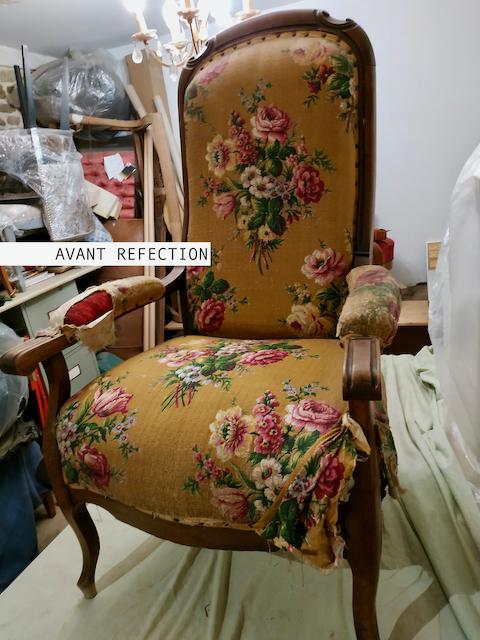 Réfection fauteuil Voltaire - Aurélie Legrand tapissière